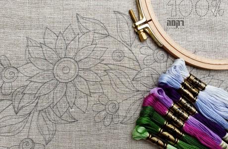 חדש: מעגל פרחים גדול על בד פשתן