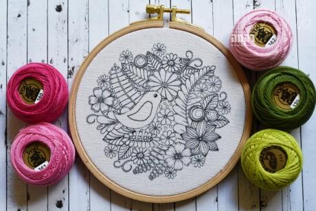 הדפס לרקמה- ציפור גן עדן